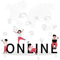 '' online '' zaken met gelukkige mensen op tekst
