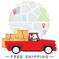 man rijden rode vrachtwagen met pakketten en kaart vector