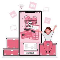 gelukkige vrouw die online betaling via telefoon maakt