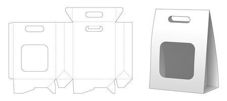 papieren zak verpakking met uitgesneden venster en handvat vector