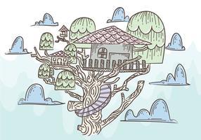 Gratis boomhuis vectorillustratie