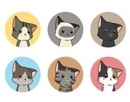 6 ronde kattenstickers