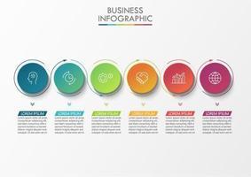 kleurrijke zwevende cirkel en dunne pijl infographic