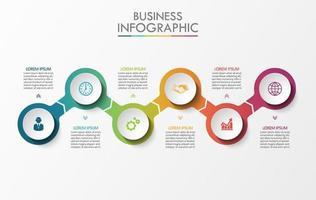 verbonden cirkel pijl 6 stap infographic