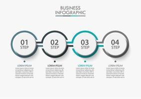 4 stappen verbonden cirkel infographic