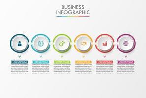 6 stappen kleurrijke verbonden cirkel infographic