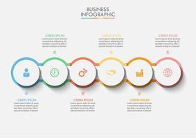 kleurrijke verbonden omtrek cirkel infographic