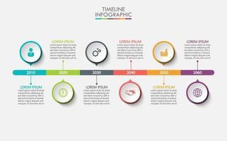 kleurrijke tijdlijn infographic met 6 cirkelopties