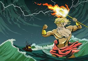 Poseidon aanvallen een schip vector