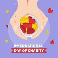 dag van liefdadigheid met handen met munten