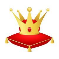 gouden kroon bovenop een kussen vector