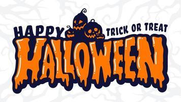 gelukkige halloween-tekstbanner met pompoenfamilie