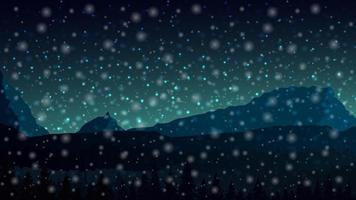 nachtlandschap met bergen aan de horizon en sneeuwvlokken