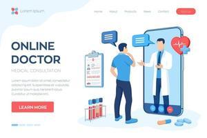 concept voor online medische consultatie en ondersteunende diensten vector