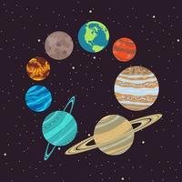 zonnestelsel in een cirkel