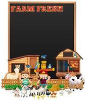 houten frame met dieren vector
