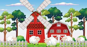 boerderijscène in de natuur met schuur vector
