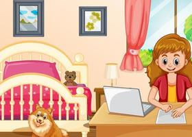 meisje werkt op de computer in de slaapkamer vector