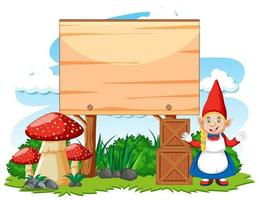 gnome staande positie naast lege banner vector