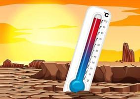 opwarming van de aarde met thermometer vector