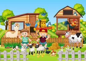 boerderij in natuurtafereel met dierenboerderij vector