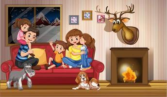 gelukkig gezin thuis vector