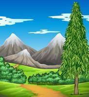 scène met berg en veld vector