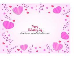 fijne Valentijnsdag. roze papieren hart en lint wenskaart vector