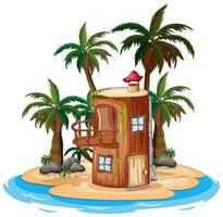 scène met houten huis