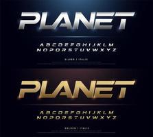 elegant zilver en goudkleurig metalen chromen alfabet lettertype