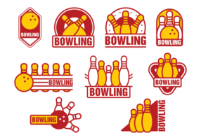 Bowlingbaan badges vector