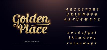 elegante goudkleurige metalen alfabet set vector