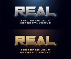 gloeiend zilver en gouden metalen lettertypeset