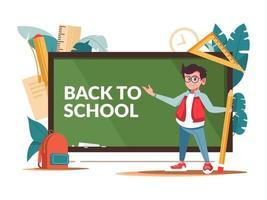 terug naar schoolbord, jongen en benodigdheden