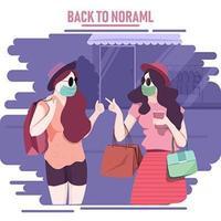 terug naar normaal concept met gemaskerde vrouw winkelen