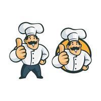 retro vintage chef-kok stripfiguur vector