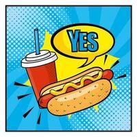 pop-art stijl hotdog en frisdrankbeker