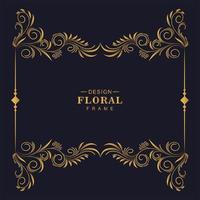 decoratieve gouden boven- en onderkant bloemengrenskader vector