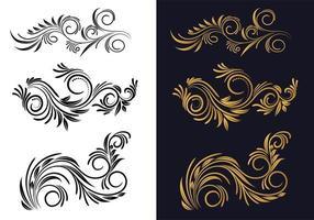 decoratieve creatieve zwart en goud bloemen decoratieve set vector