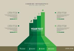 Combineer stappen infografische sjabloon vector