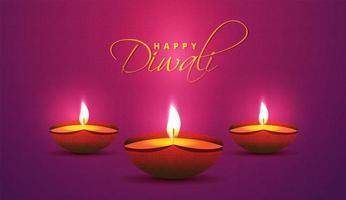 realistische olielampen op paars verloop voor diwali-festival vector