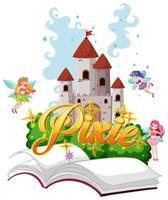 pixie-logo's met kleine fee op witte achtergrond