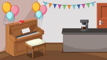 feest in woonkamer met piano en koffiemachine