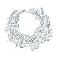 blauwe vintage decoratieve schets bloemenkrans