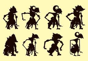 Set of wayang silhouetten vector