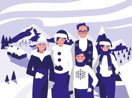 groep familie met kerstkleren in winterlandschap