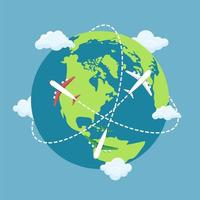 vliegtuig vliegt rond de wereld vector