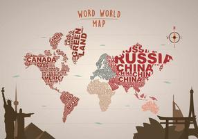 Gratis Word Map Illustratie met landmarks vector