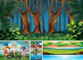 vier verschillende scènes uit de fantasiewereld vector