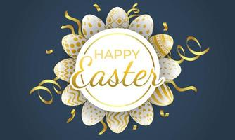 gelukkig Pasen-cirkelframe met gevormde eieren